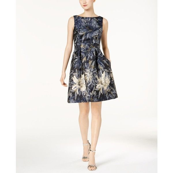 Jessica Howard Metallic Floral Brocade Fit & Flare Dress, Regular &... ($50) ❤ liked on Polyvore featuring dresses, navy, petite white dresses, navy blue dress, petite dresses, fit and flare dress and fit flare dress