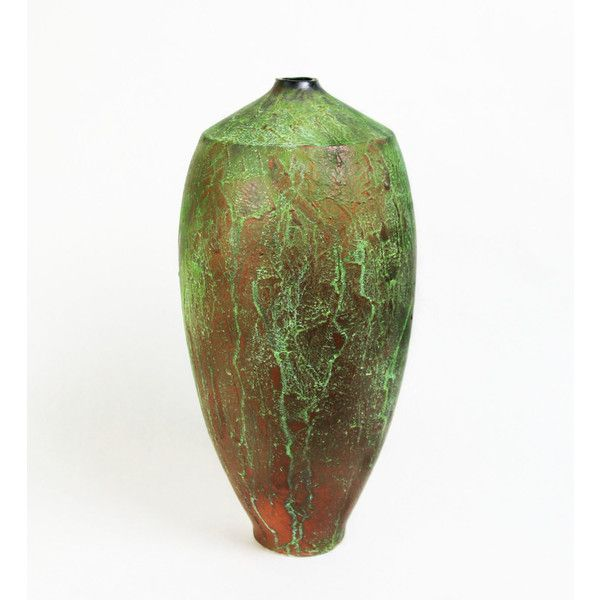Cheryl Williams Verde Patina Vase Ceramic Vase (2.588.385 IDR) found on Polyvore