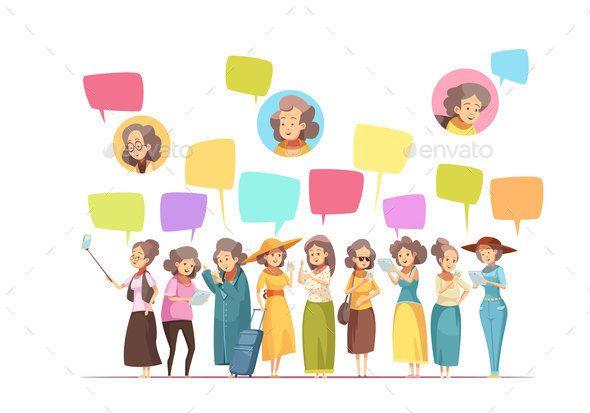 Women Senior Online Cartoon Composition