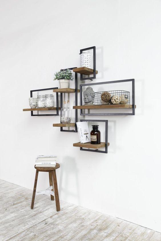 étagère géométrique bois et métal 3D MARQUE D BODHI | déco entrée