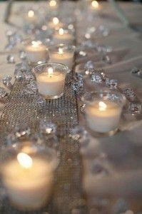 Bougies + cristaux de verre