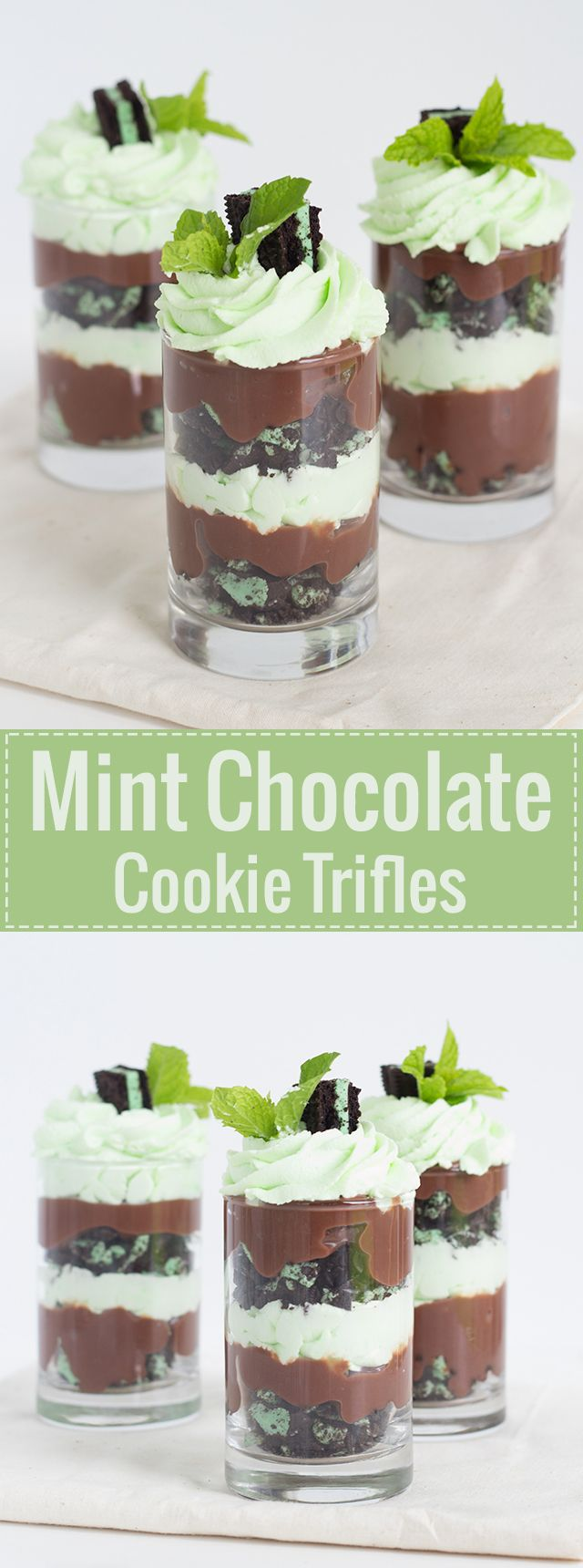 Easy Mint Chocolate Cookie Trifles