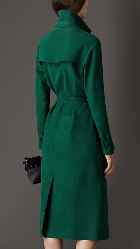 Burberry Teal Green Lambskin Trench Coat - A single-breasted trench coat in soft suede. Discover the women's outerwear collection at Burberry.com