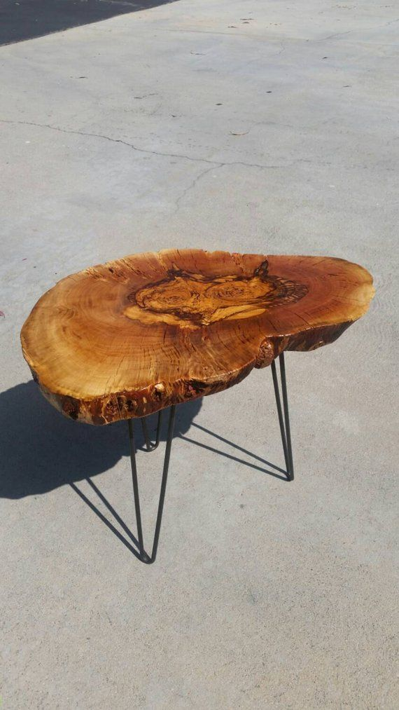 Live Edge Wood Reclaimed Side Table On Hairpin Legs Reclaimed