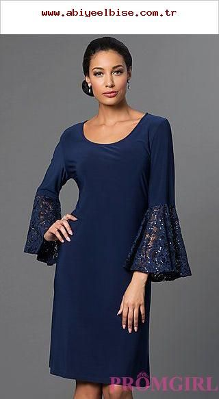 Knee Long Sleeve Dress by Morgan at PromGirl.com