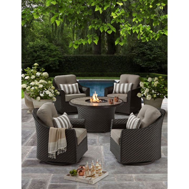 Member S Mark Agio Heritage 5 Piece Outdoor Fire Pit Chat Set With Sunbrella Fabric Sam S Club Patio Decor Best Outdoor Furniture Outdoor Furniture