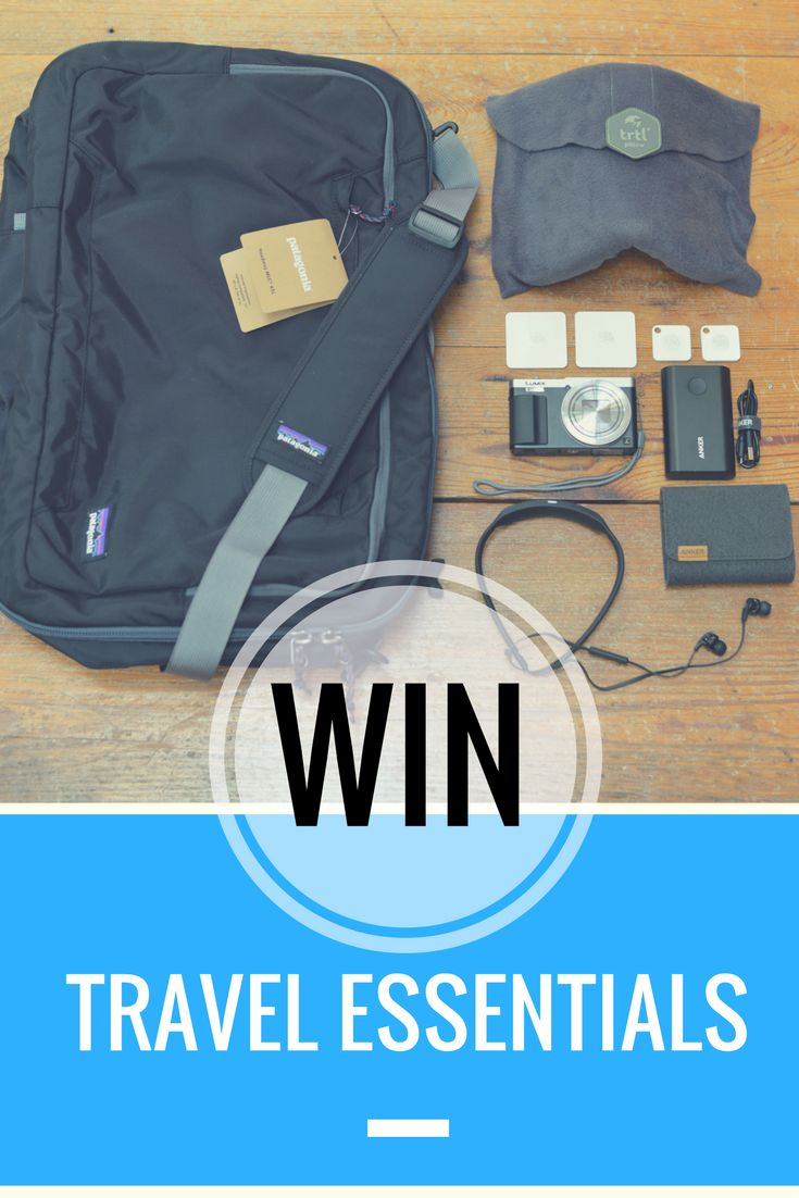 WIN! TRAVEL ESSENTIALS.  Go have an adventure with our Where® Staff Picks, which include:  A Patagonia Headway Mlc® 45L Carryon Backpack (Black)  A Panasonic Lumix ZS50 Camera (Silver)  Tile Mate & Slim Combo Pack of 4  A Trtl Neck Travel Pillow  Skullcandy Smokin' Buds 2 In-Ear Bluetooth Wireless Earbuds (Black)   Anker PowerCore+ 10050mAh Portable Charger