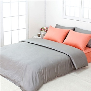 Best Modern Solid Gray Peach Bedding Set With Images Bed 400 x 300
