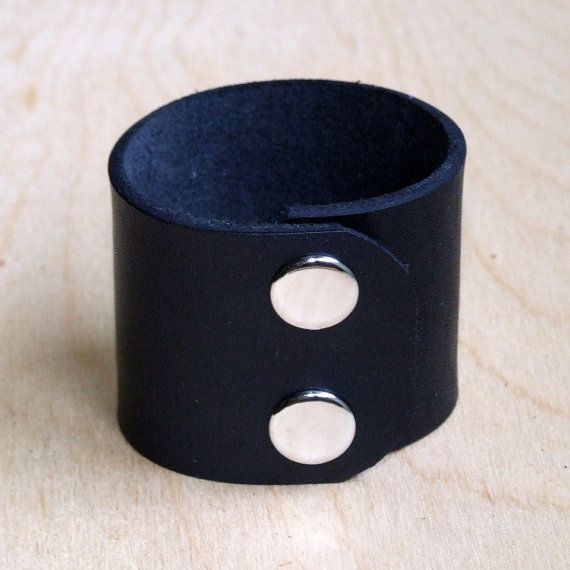 Leather wristband with snaps or tie lace. 2 inches by kutilajos, $12.00