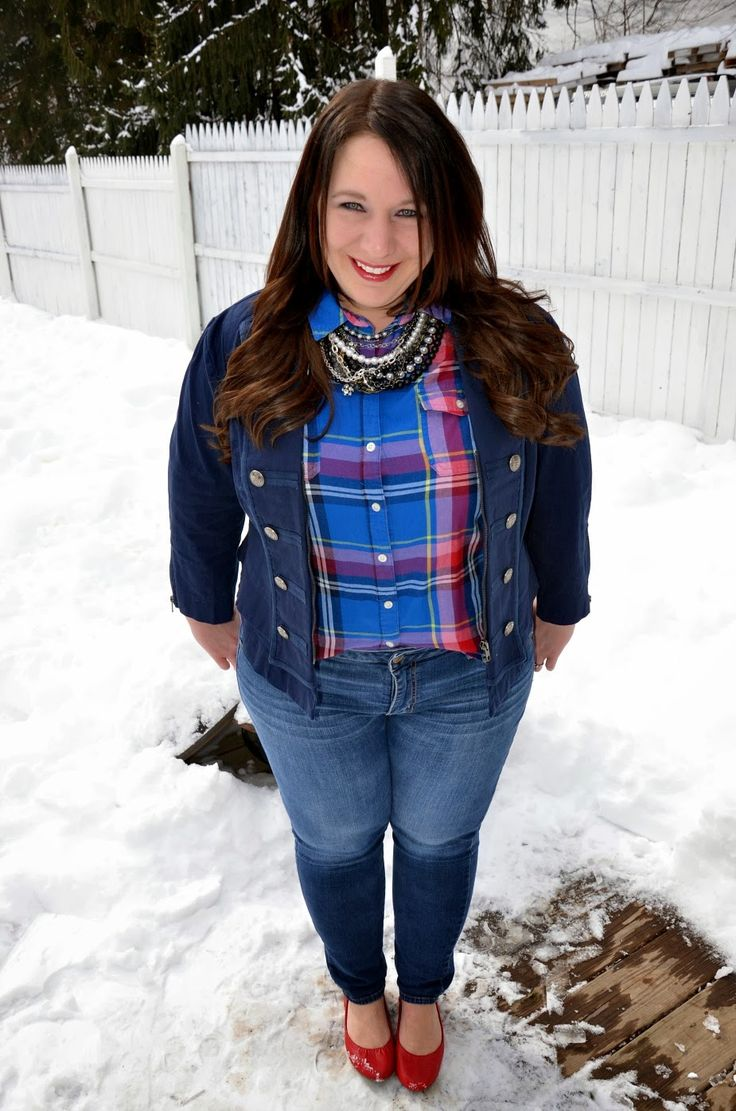 Full Figured & Fashionable: READER'S CHOICE. How to casually mix plain with fancy featuring a preppy look.