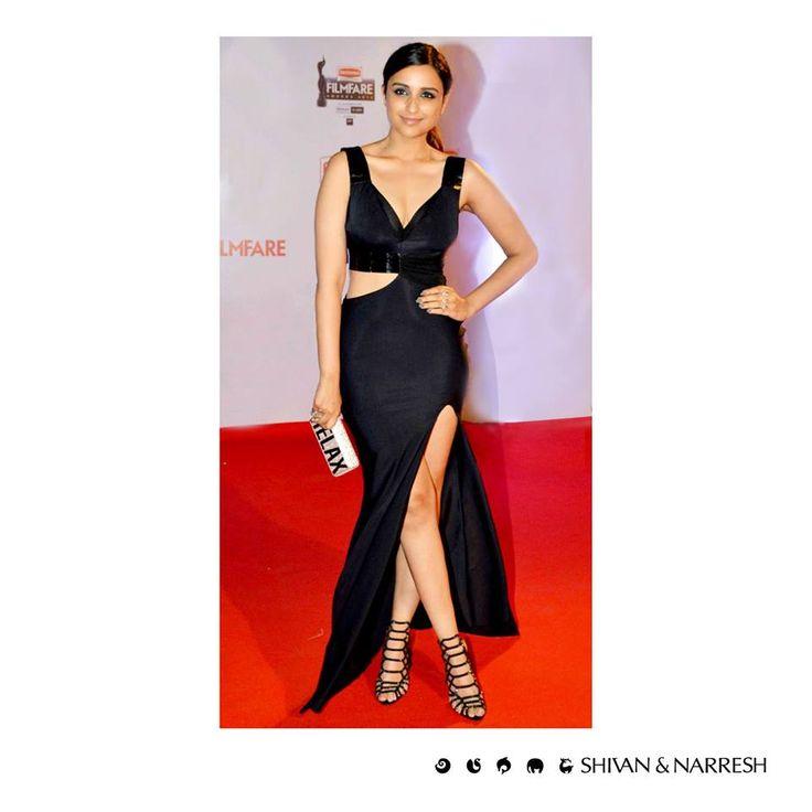 Parineeti Chopra looking stunning in Shivan & Narresh X KOHLER Couture Collection DTV+ Cruise Gown at Filmfare Awards | #ParineetiChopra #ShivanAndNarresh #BlackGown #EveningWear #FilmfareAwards #CelebStyle