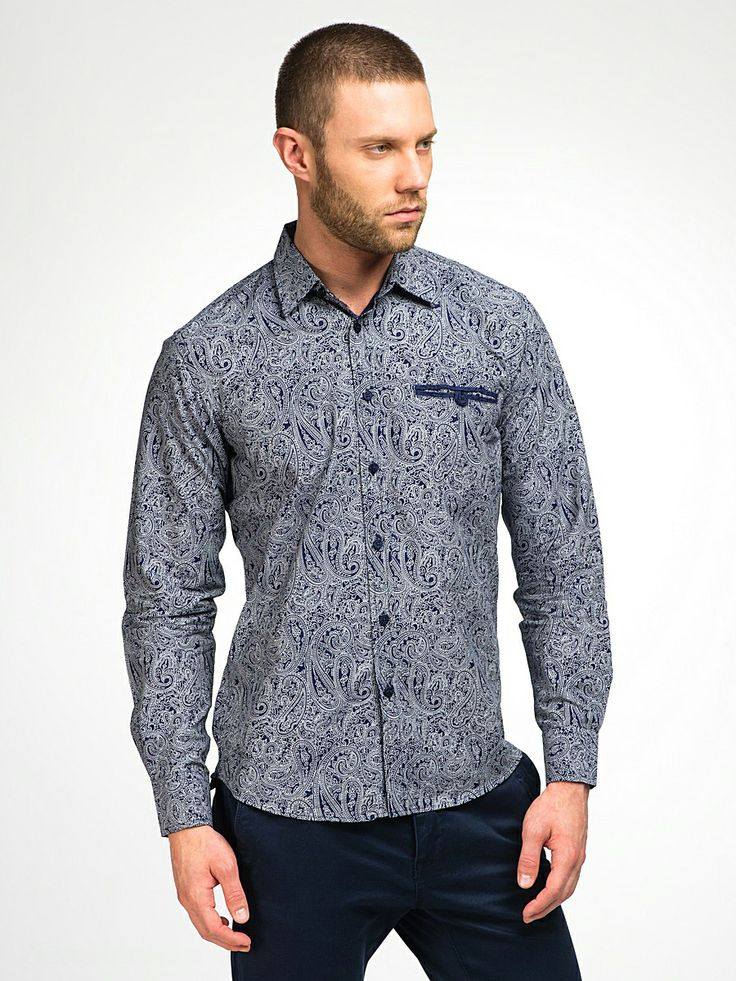 M278412.  Classic long sleeves shirt with a tinge of casual on the pocket. Made from very fine 100% cotton printed with our classic paisleys, which will carve out a powerful man out of you.   One of the all time bestsellers.