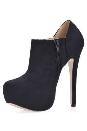 Sapatos de Salto Zíper Salto agulha Camurça Salto Grosso