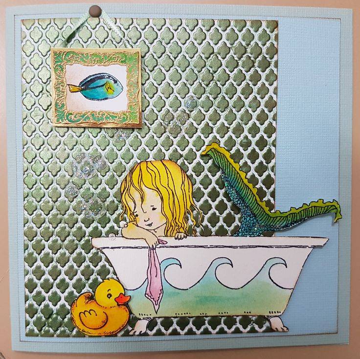Mermaid Bath 40-457 by Penny Black; Trellis Embossing Folder siz661369. Card by Susan of Art Attic Studio