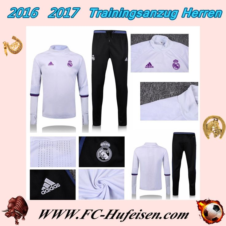Billige Neue Trainingsanzug Set Fussball Real Madrid FC Halsband Weiß + Hose Blau Saison 16 17 18 70% Rabatt Shop