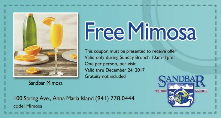 Where To Eat And Drink On Anna Maria Island  Recommended restaurants  Free Mimosa  Brunch on the Beach  with Live Jazz  SANDBAR RESTAURANT