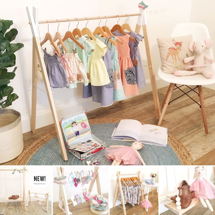 Our wooden accessory racks, clothing racks & swing shelves are available in lots of colour/style/size options- https://butterflygardenforkids.com.au/collections/wooden-clothing-accessory-racks