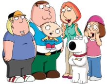 A group picture of a cartoon family, with a father, mother, son, daughter, baby and dog.