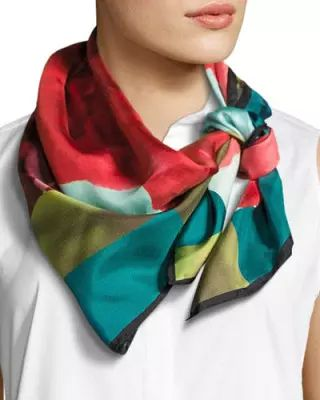 Silk Square Scarf - Indigo Kisses Silk by VIDA VIDA NOGv6