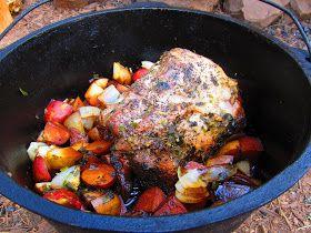 Dutch Oven Garlic Herb Pork Roast with Veggies CAMPING RECIPE camp camping