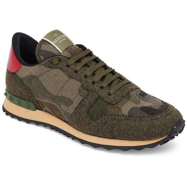 Valentino Army Felt Roc Calf Leather Runner Sneakers : Valentino Shoes ($990) ❤ liked on Polyvore featuring men's fashion, men's shoes, men's sneakers, apparel & accessories, army green, valentino mens sneakers, valentino mens shoes, mens camo sneakers, mens camo shoes and mens lace up shoes