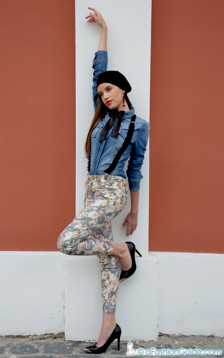 """Autumn outfit in blue jeans skirt and """"Artdrops"""" assessories"""