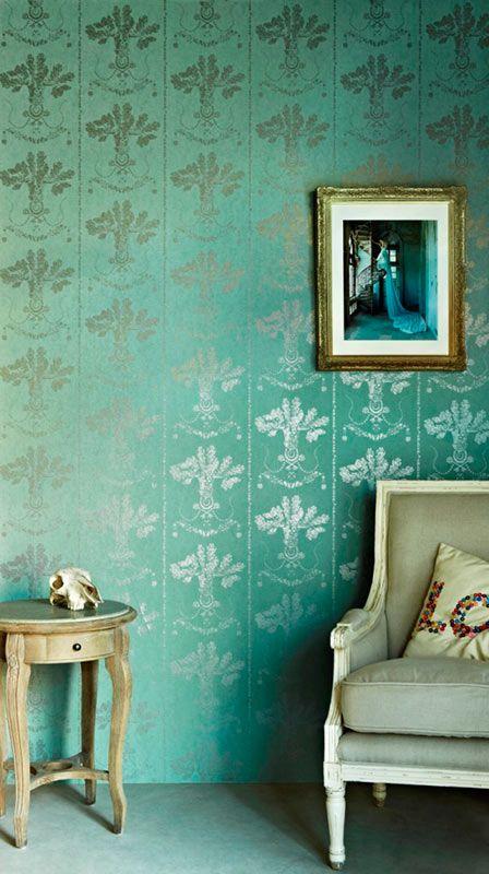 Barneby Gates - Lucky Charms Graphite on Denim Wallpaper