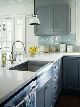 Grey & yellow kitchen