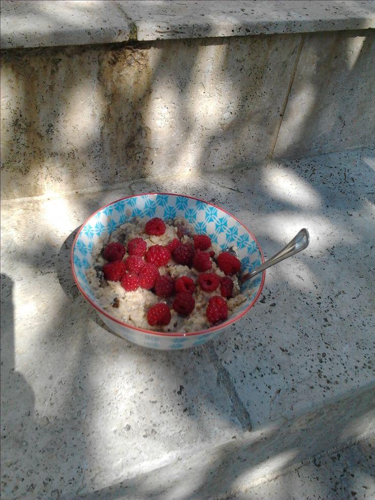 Petit porridge d'été.. parsemé de framboises du jardin (un petit bol chaque jours en ce moment!)