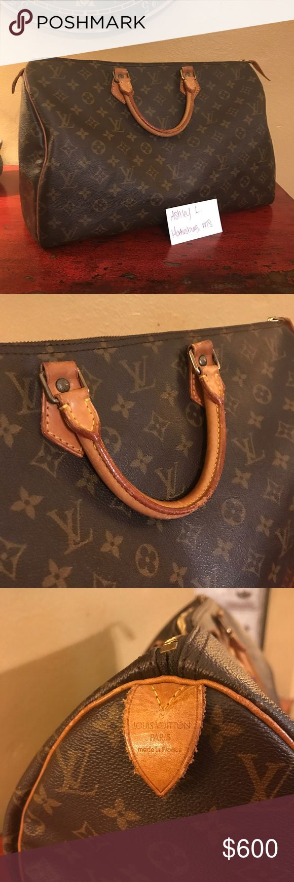 Authentic Louis Vuitton Speedy 40 EXCELLENT USED CONDITION          Speedy 40- $500 Dustbag Included!    Handles are a light patina. The corners in excellent condition with normal wear, leather pull tab attached. Interior is clean - see photos. Zipper works great without any problems. No peeling or odors! Louis Vuitton Bags Totes