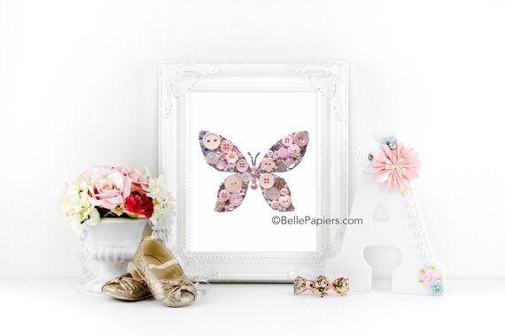Arte bottone pulsante Stampa Farfalla Farfalla Swarovski farfalla neonata ragazza adolescente in camera decorazione Pink Butterfly arte della parete d'argento scintillante