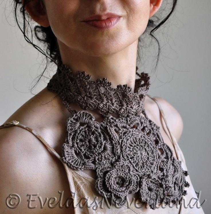 Madame Geneva - freeform crocheted statement bib necklace / fiber jewelry / fiber art by Evelda's Neverland