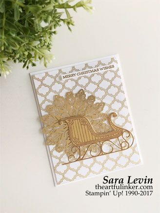 Sara Levin | theartfulinker.com Click the picture to see more of Sara's Designs. Santa's Sleigh Christmas card for the Creation Staion blog hop. #santassleigh #christmascard Handmade cards, #rubberstamps #cardmaking #stampinup stamping, #saralevin #theartfulinker