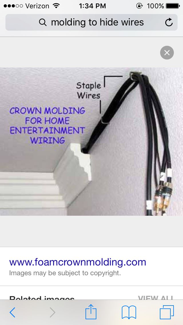 Crown molding to hide wiring hell yes we can put in surround sound