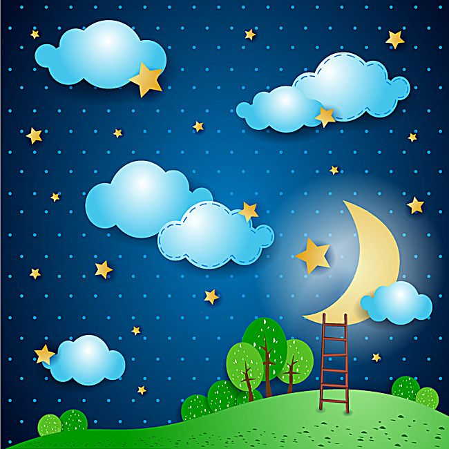 Cartoon Moon Night Sky Background Moon And Stars Wallpaper School Wall Art Moon Cartoon Abstract graphic nature eco pictures simple growth plants vector emblem. cartoon moon night sky background