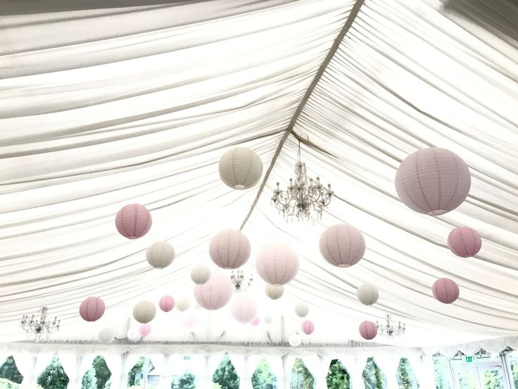 40 cream, lace, soft pink paper lanterns