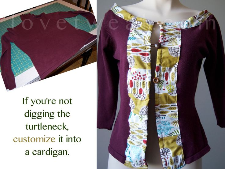 Take a plain turtleneck sweater and transform it into a unique cardigan. Colourful fabric scraps and eclectic buttons make anything fun. See more makeovers here: http://lovetweal.com/953-2/