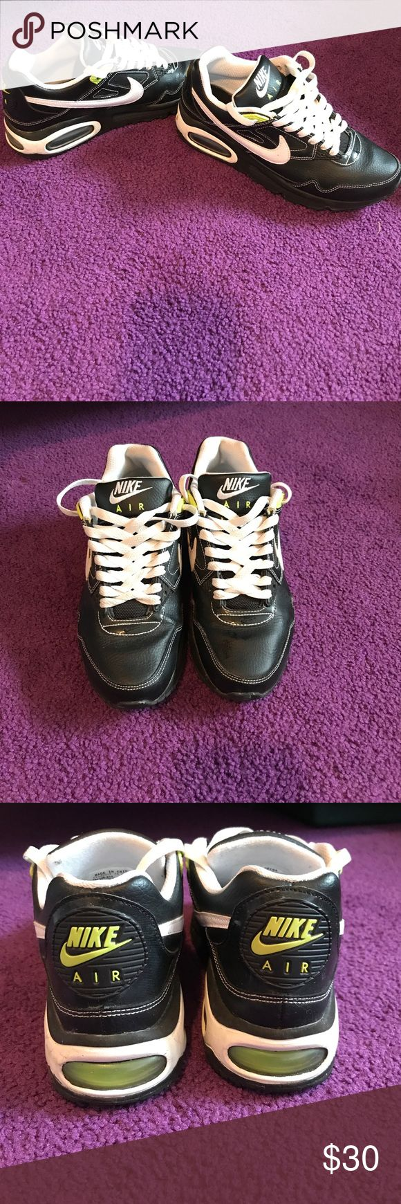 Nike Air Max Black/White/Green Nike Air Max Size 5. In good condition. Nike Shoes