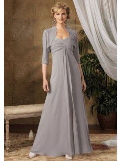 A-Line Sweetheat Neckline Floor-Length Chiffon Mother of the Bride Dress With…