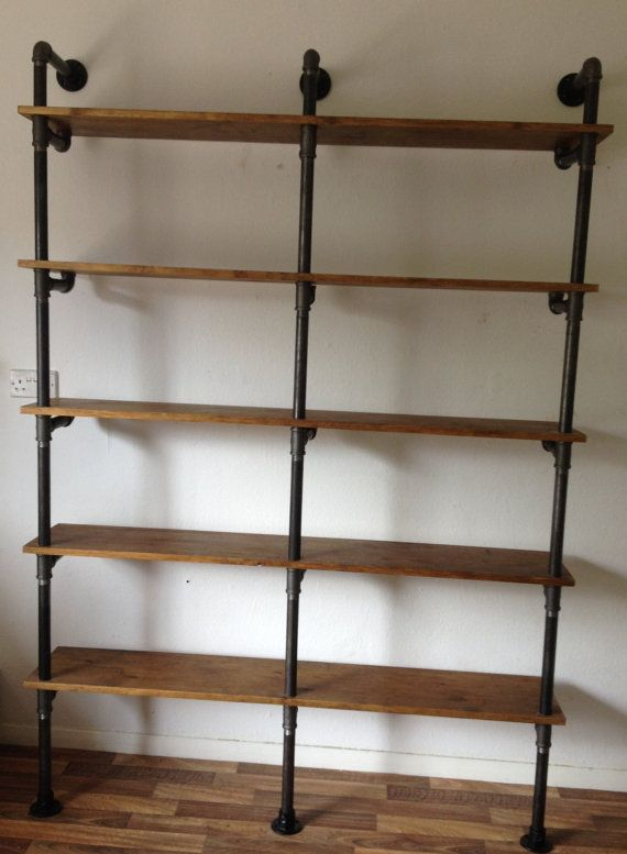 Vintage Industrial Gas Pipe Shelving Unit  This beautiful unit is handcrafted by our team of carpenters in our workshop in Maidenhead. We use a locally