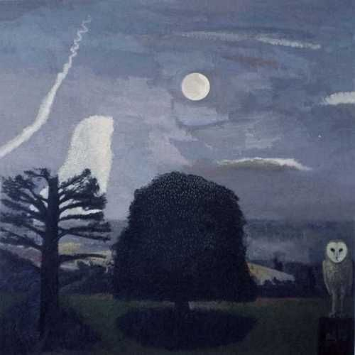 Moon, Chestnut Tree and an Owl - David Inshaw