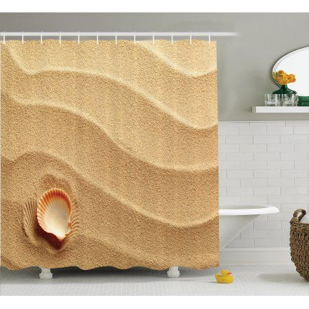 Buy Shower Curtain Set, Little Seashell on Golden Sand Spiritual Sea Animal Coastal Theme Decor Beachy Art Print, Bathroom Decor,  Cream, by Ambesonne at Walmart.com