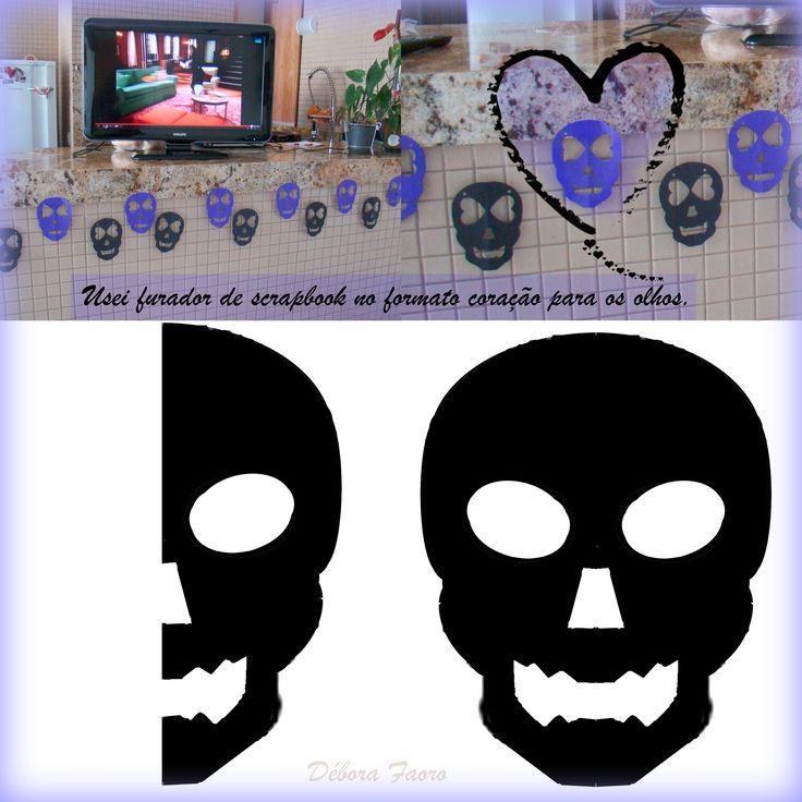 Bandeirola de caveiras. Molde de caveira. Modelo de caveira. Skull template. Skull pennant flags. #skulltemplate #skullpennantflags #DIY