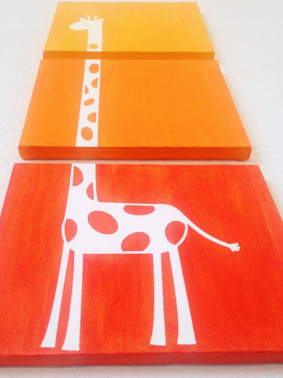 Giraffe Ombre Canvas Art (Choose your colors!)  www.ADapperDuck.com