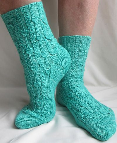 "Love these ""Phloem"" socks by Rachel Coopey featured on the Knitty website. I might even get around to knitting them! Here's the link: http://www.knitty.com/ISSUEss12/PATTphloem.php"