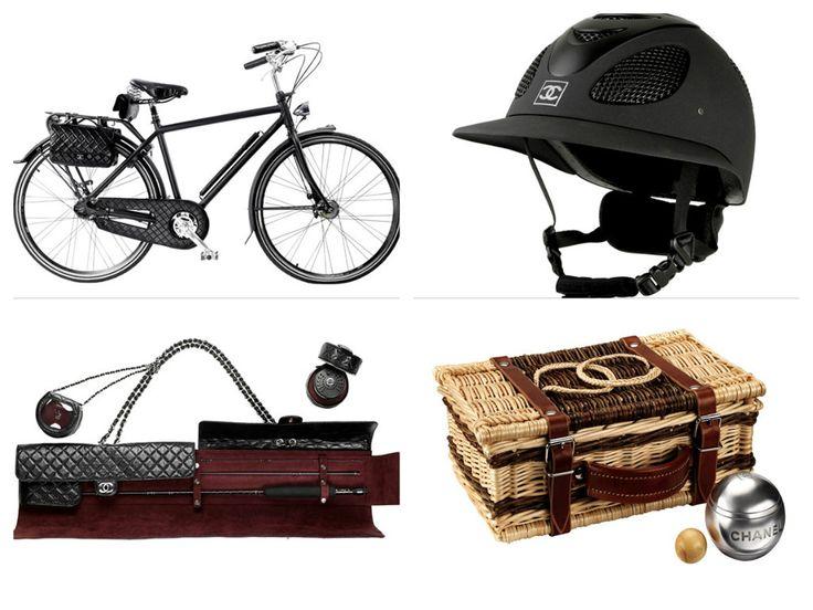 chanel bicicletta set da pesca casco da polo cestino per bocce