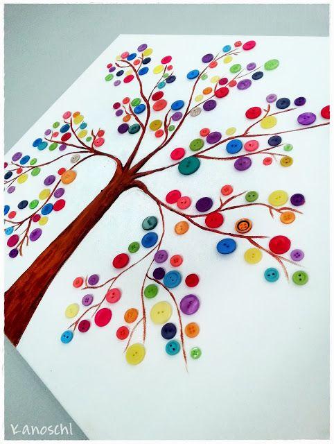 Baum mit Knöpfen zeichnen DIY