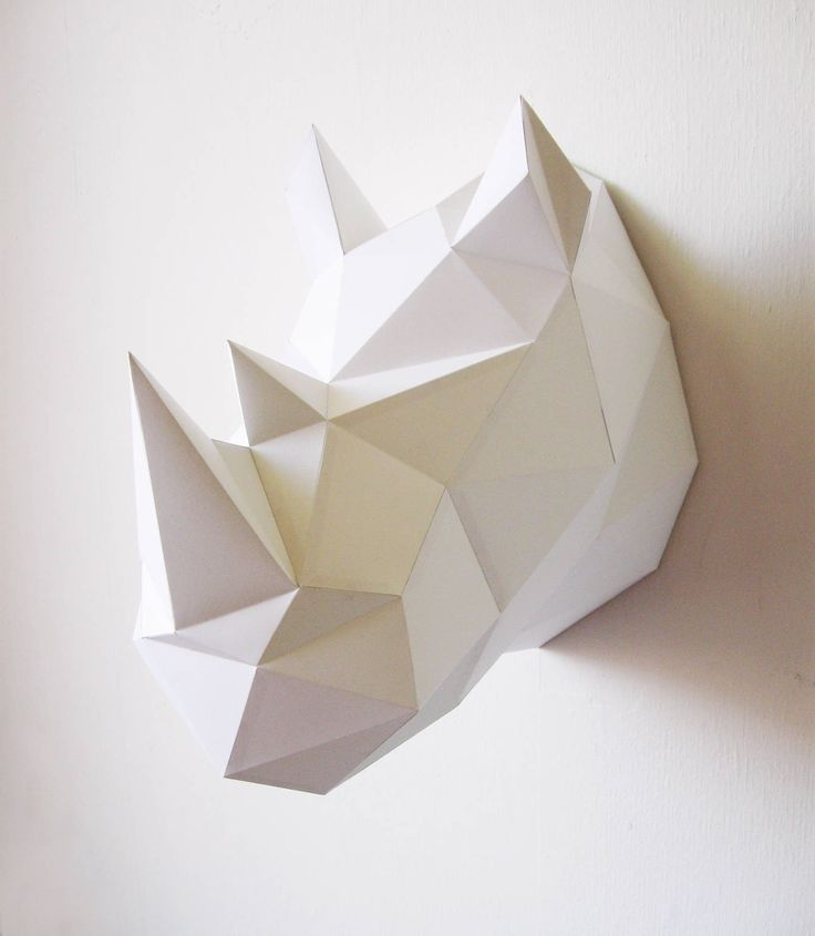 Papieren Neushoorn DIY Kit #papercraft #paper #DIY #wall available at www.creativeuseoftechnology.com