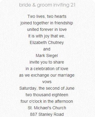 Wedding Invitation wording for all types of weddings/invitations