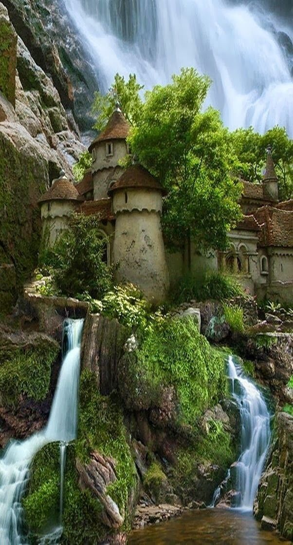 Waterfall castle in Poland.  I mean seriously does this actually exist cause I would play here all day